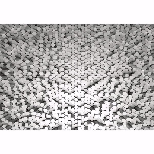 Picture of White 3D Pentagons Wall Mural