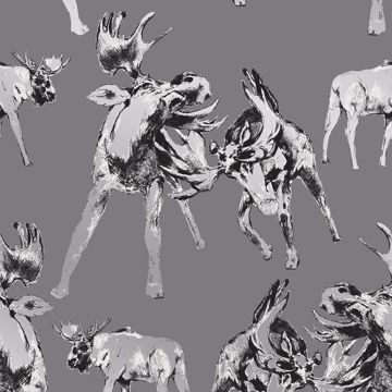 Picture of Roald Grey Moose Wallpaper