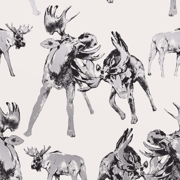 Picture of Roald Off-White Moose Wallpaper