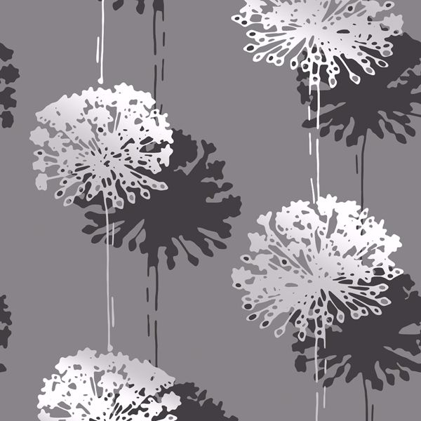 Picture of Hamsun Grey Dandelion Wallpaper