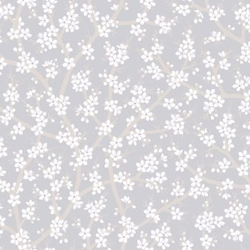 Picture of Henrik Light Grey Floral Wallpaper