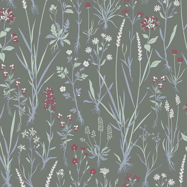 Picture of Harald Dark Green Botanical Wallpaper