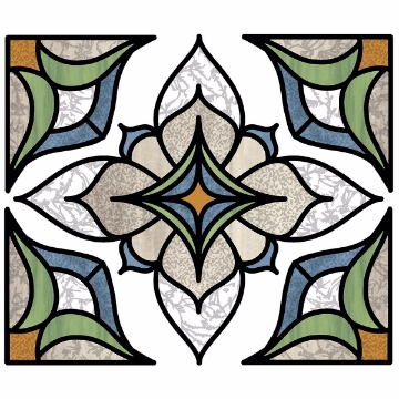 Picture of Blue Alden Stained Glass Window Decals