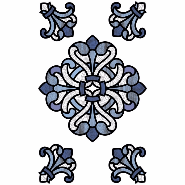 Picture of Blue Medici Stained Glass Window Decals