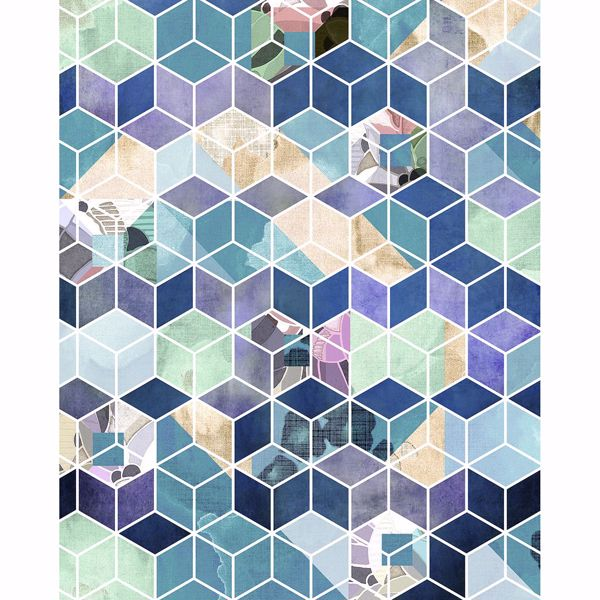 Picture of Blue Geometric Cube Wall Mural