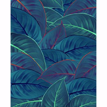 Picture of Neon leaves Wall Mural