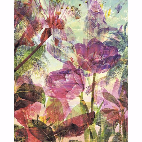 Picture of Pink Weathered Flowers Wall Mural