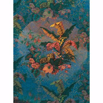 Picture of Antique Blue Leaves Wall Mural