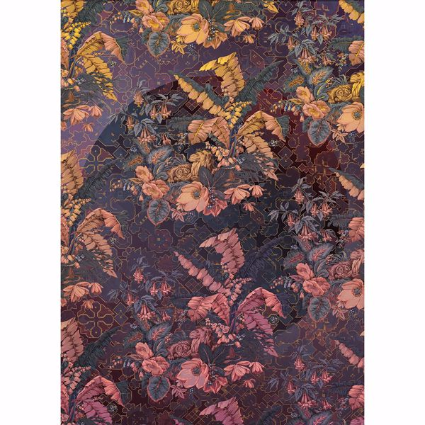 Picture of Antique Violet Leaves Wall Mural