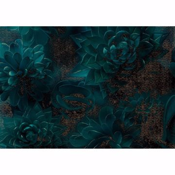 Picture of Teal Florals Wall Mural