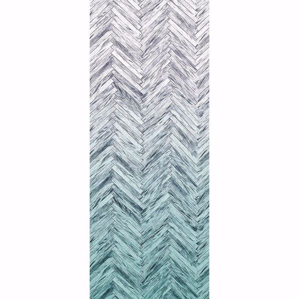 Picture of Herringbone Wood Mint Wall Mural