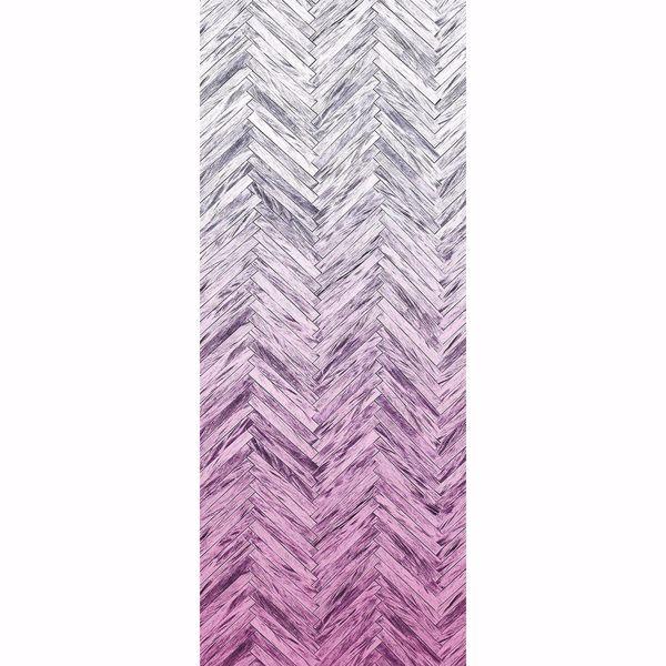 Picture of Herringbone Wood Pink Wall Mural