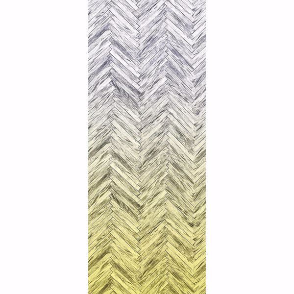 Picture of Herringbone Wood Yellow Wall Mural