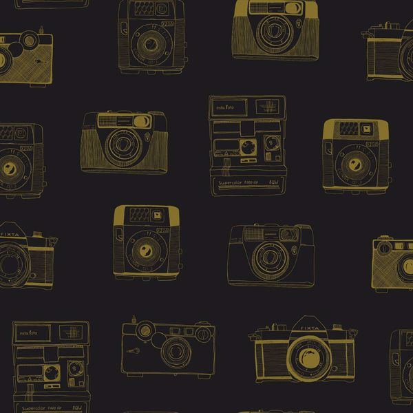 Picture of Pinkins Black Retro Camera Wallpaper