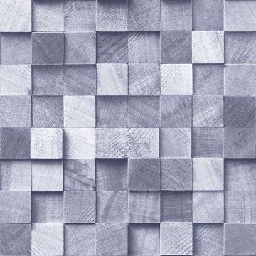 Picture of Tevye Blue Wood Geometric Wallpaper