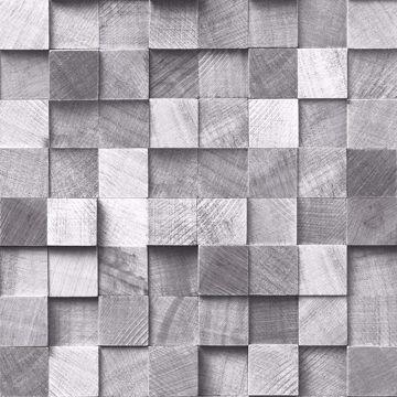 Picture of Tevye Grey Wood Geometric Wallpaper