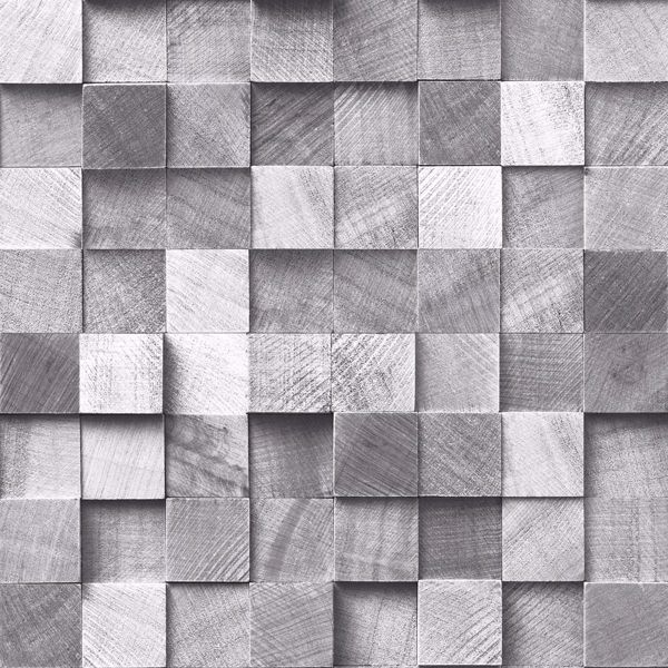 Picture of Tevye Grey Wood Geometric Wallpaper
