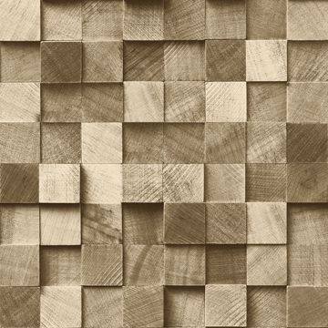 Picture of Tevye Gold Wood Geometric Wallpaper