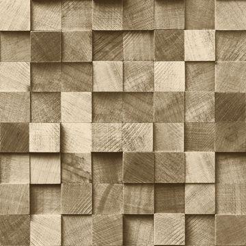 Picture of Tevye Gold Wood Geometric Wallpaper