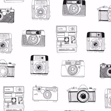 Picture of Pinkins White Retro Camera Wallpaper