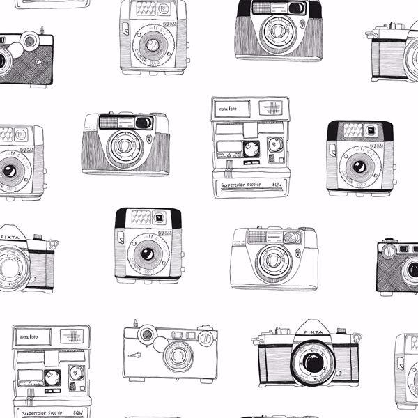 Picture of Pinkins White Retro Camera Wallpaper