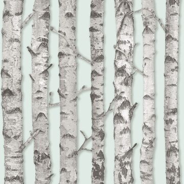 Picture of Merman Mint Birch Tree Wallpaper