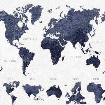 Picture of Boq Dark Blue World Map Wallpaper