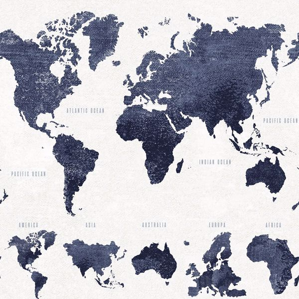 Picture of Boq Dark Blue World Map Wallpaper