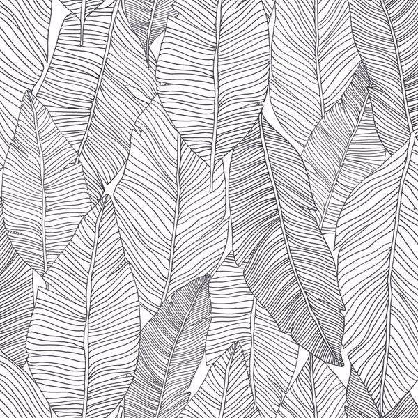Picture of Thuy Grey Banana Leaves Wallpaper