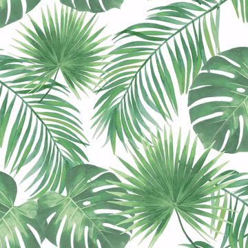 Picture of Patti Light Green Leaves Wallpaper