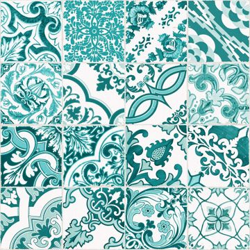 Picture of Cohen Turquoise Tile Wallpaper