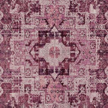 Picture of Desmond Magenta Distressed Medallion Wallpaper