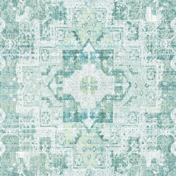 Picture of Desmond Turquoise Distressed Medallion Wallpaper