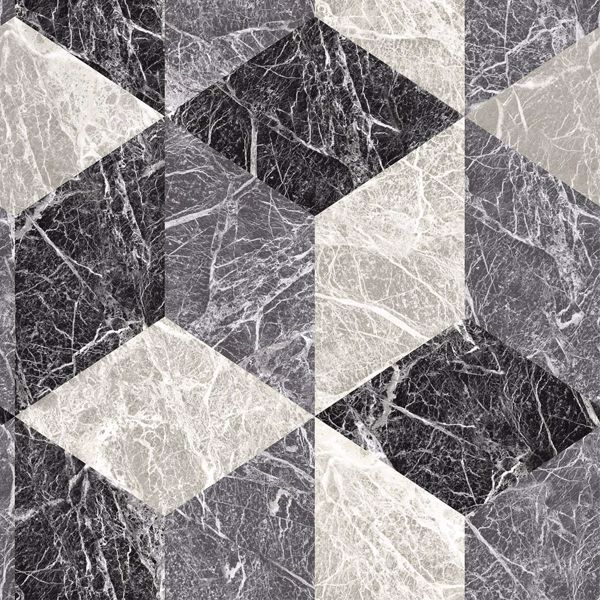 Picture of Rizzo Black Geometric Stone Wallpaper