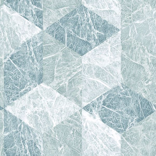 Picture of Rizzo Light Blue Geometric Stone Wallpaper