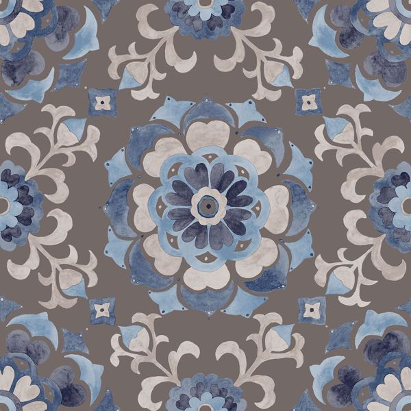 Picture of Tracy Blue Medallion Wallpaper
