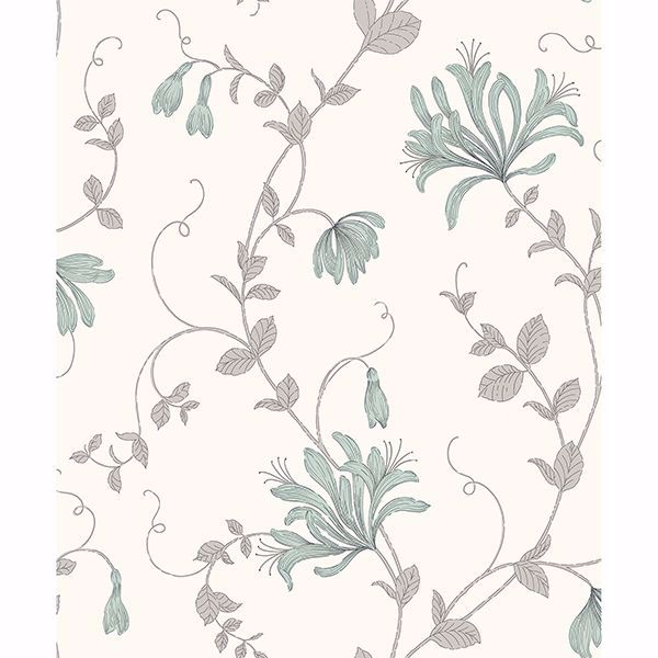 Picture of Barbara Turquoise Floral Trail Wallpaper