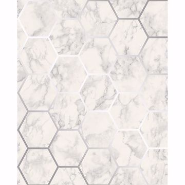 Picture of Margaret Off-White Marble Hexagon Wallpaper