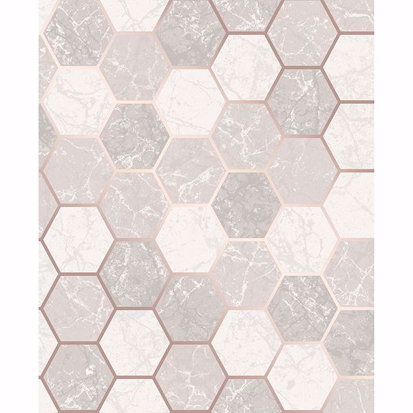 Picture of Margaret Rose Gold Marble Hexagon Wallpaper