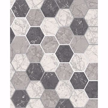 Picture of Margaret Charcoal Marble Hexagon Wallpaper