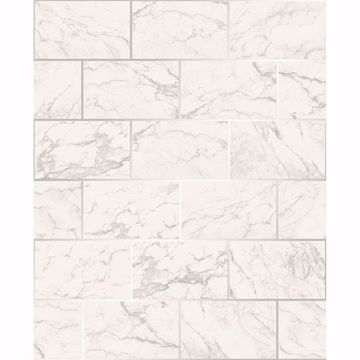 Picture of Mirren Off-White Marble Subway Tile Wallpaper