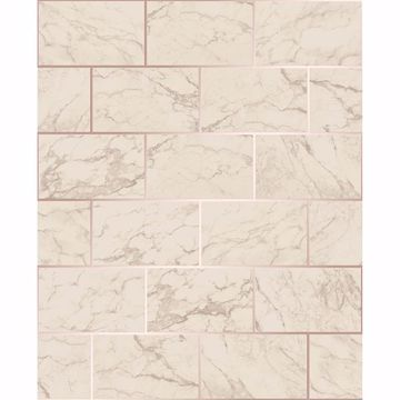Picture of Mirren Beige Marble Subway Tile Wallpaper