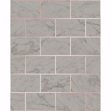 Picture of Mirren Grey Marble Subway Tile Wallpaper