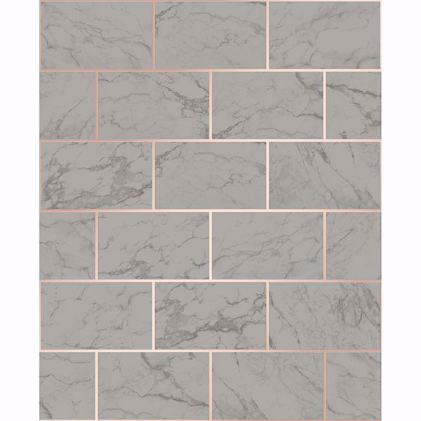 Picture of Mirren Grey Marble Subway Tile Wallpaper
