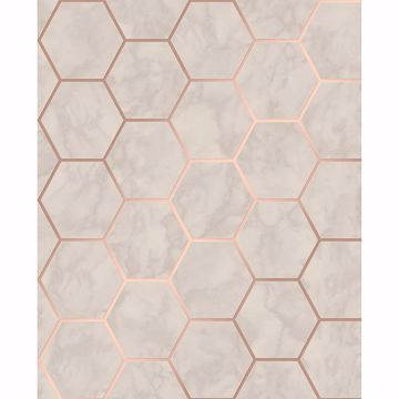 Picture of Margaret Beige Marble Hexagon Wallpaper
