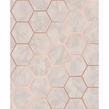 Picture of Margaret Beige Marble Hexagon Wallpaper