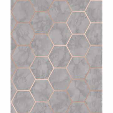 Picture of Margaret Grey Marble Hexagon Wallpaper
