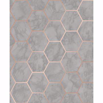 Picture of Margaret Grey Marble Hexagon Wallpaper