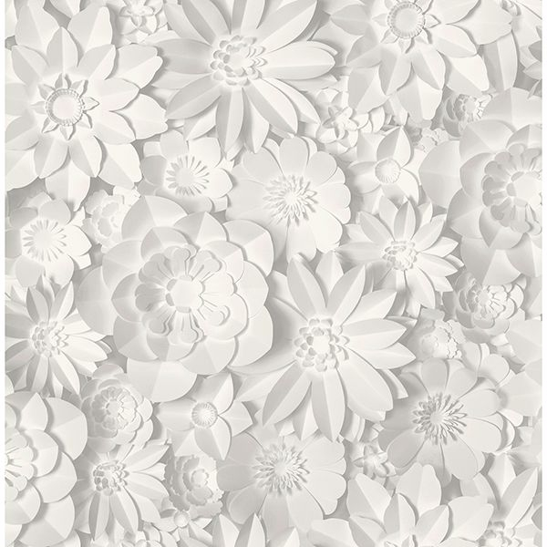 Picture of Dacre White Floral Wallpaper
