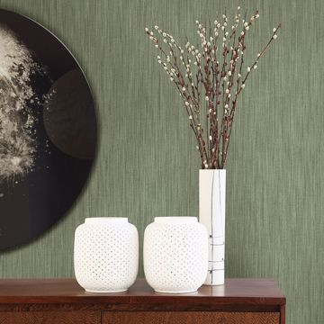 Picture of Chiniile Green Faux Linen Wallpaper